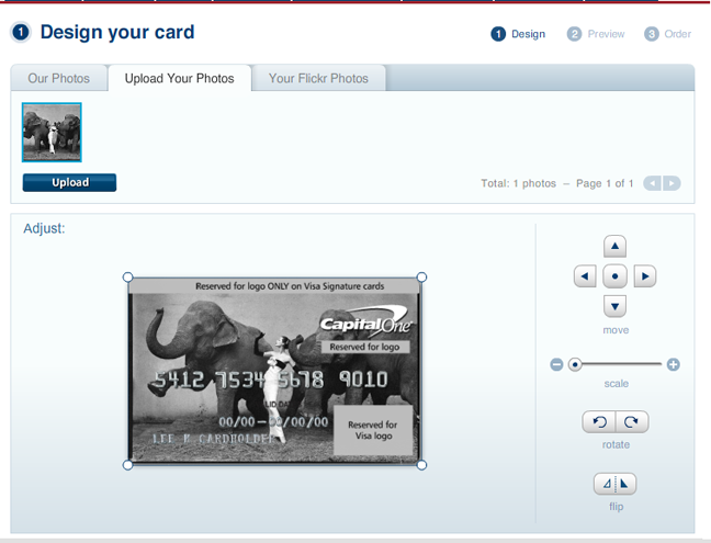 get one of your pictures on a credit card a photo editor