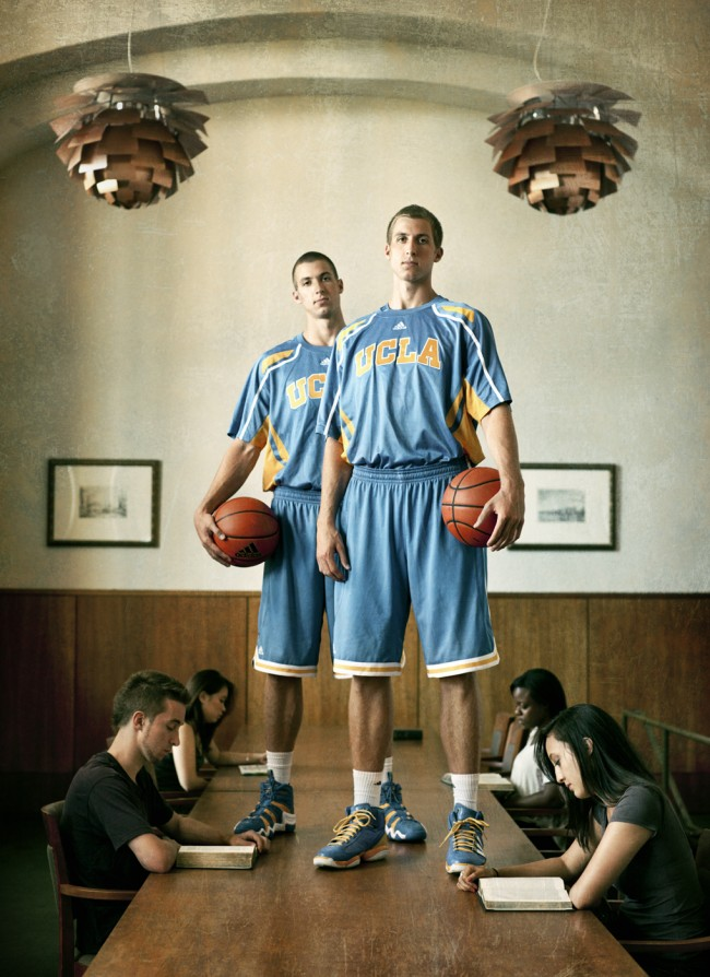 Portrait of the Wear Twins for UCLA Magazine, 2012