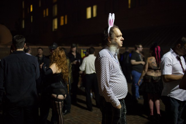 A man dressed as a bunny stands outside at Frolicon, a BDSM/erotica convention.