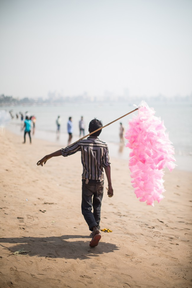 I chased this candy floss seller down Chowpatty beach like a madwoman. I was out there photographing for Mr. Todiwala's Bombay Cookbook and this image made it onto the cover.