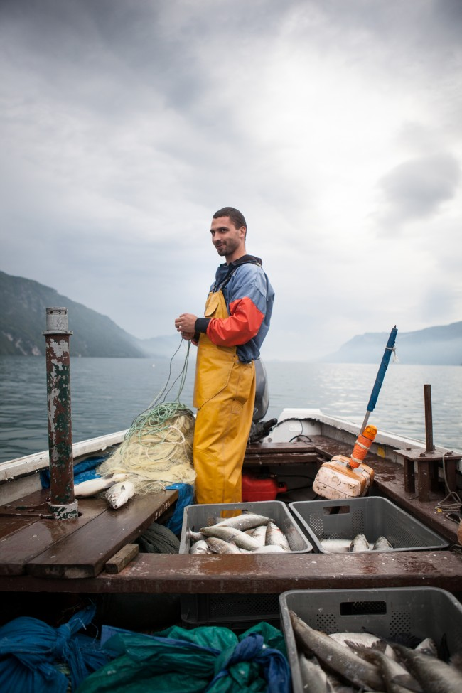I got up at 4am to go out with Olivier Parpillon on his boat. It was for a feature on Bourget du Lac, a village with 4 Michelin starred restaurants. He supplies them all with Lavaret, a fish only found in that lake.
