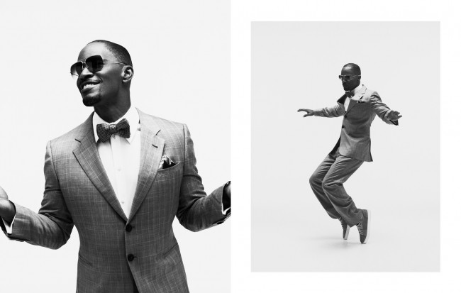 I love these images of Jamie Foxx, these are outtakes from ad campaign we did together. He is the ultimate entertainer, it didn't just start when the camera was on him either. He sang and danced and ruled the room. These images really tell that story to me.
