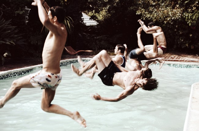 This was one of the most fun shoot I have ever done, I got a good number of my friends together for an underwear special for Selfridges.  I love this moment, it reminds me of that reckless abandon of long summer days. My friends and I sneaking into pools that weren't ours, jumping off roofs, basically being a kid.