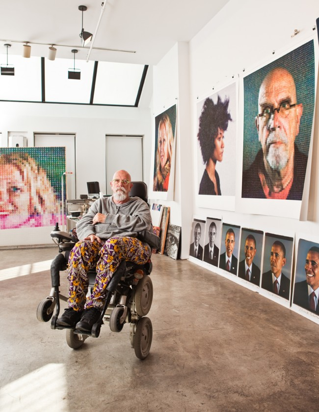 Chuck Close in His Studio, NYC