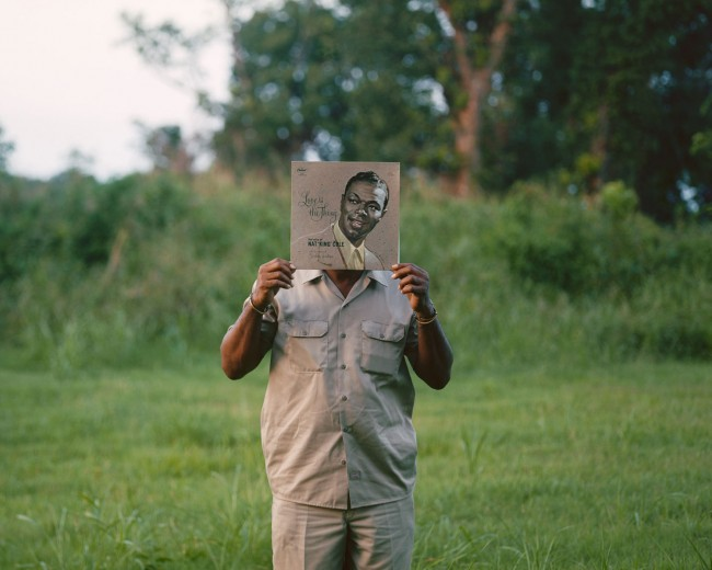 "This is the very first image I made for In the Southern Garden. Here is Walter in Glendora, Mississippi holding up an old Nat King Cole album titled ""Love Is the Thing."""