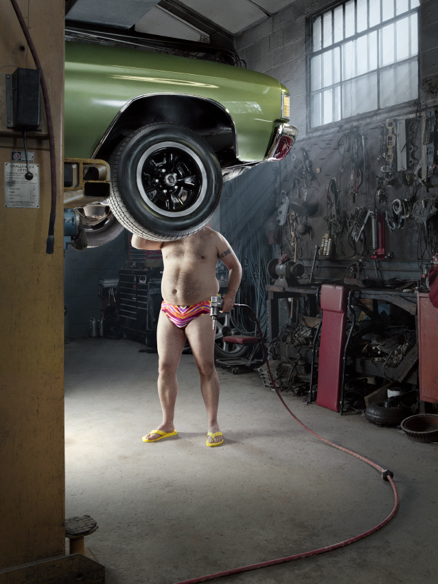 Recent commission featuring speedo-clad mechanics to illustrate the client's heat generating product.