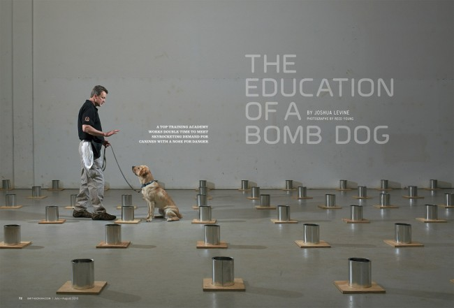 Bomb dog training school for Smithsonian Magazine.