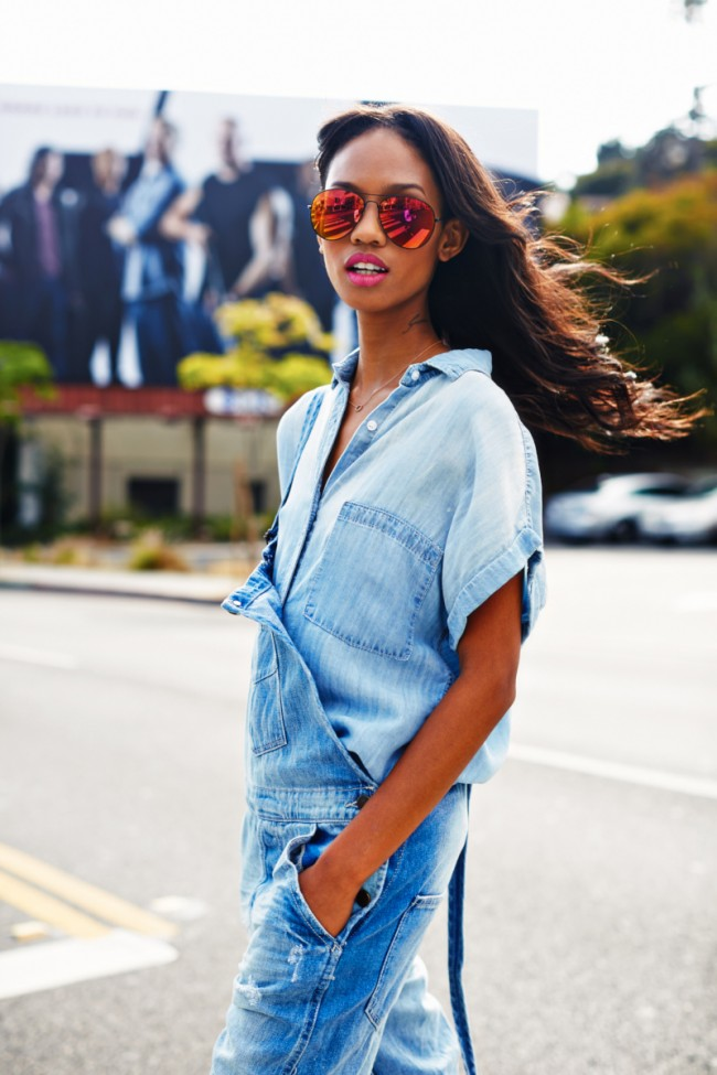 Adesuwa shot for Essence Magazine denim Story