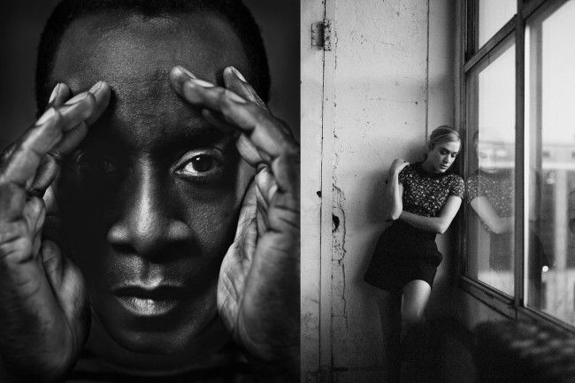 Here is an example of my magazine portrait work.  Don Cheadle and Chloe Sevigny photographed for two different magazine features. The magazine ended up using color images for the features but I like to offer up some black and white.  For Don I used a 4x5 with BW film.  Chloe pictured in the window of a studio in New York was also taken with a roll of grainy BW medium format film.