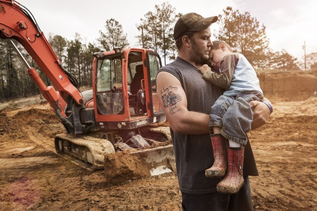 While documenting the chaos of running a mud bog on the set of the Animal Planet series, Mud Lovin' Rednecks, I caught this tender moment between father and son.