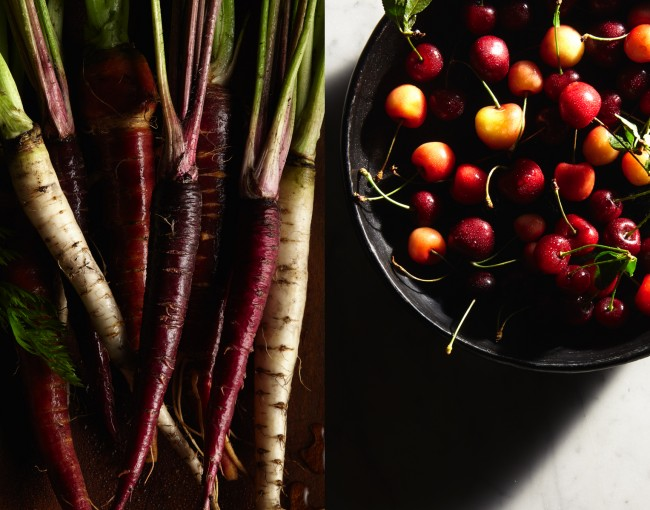 Finding beautiful ingredients at the farmers market and bringing them back to the studio.