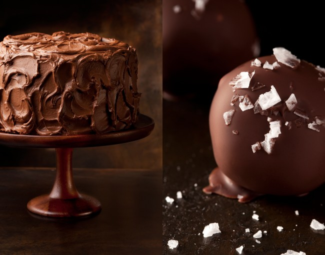 Chocolate Layer Cake and Truffle With Sea Salt