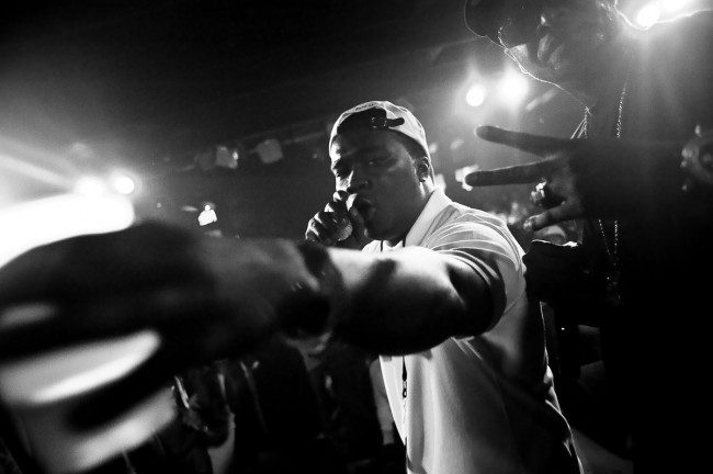 A hip-hop artist performs onstage during a show at Sonar in Baltimore, MD.  This image is from an ongoing series on Baltimore's hip-hop scene.