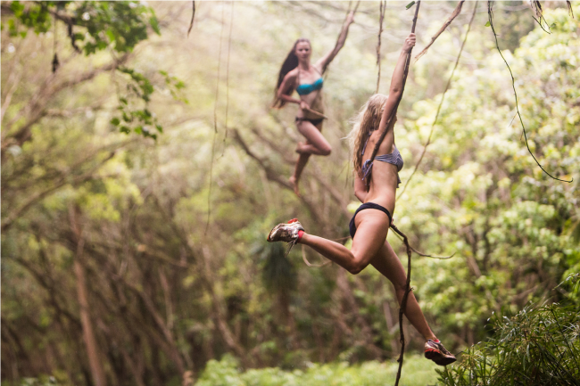 While in Kauai, I noticed that swinging on vines was a natural pastime among friends. I set up a shoot where I did stills and video with these gals because I loved the shapes they made with their bodies while swinging.