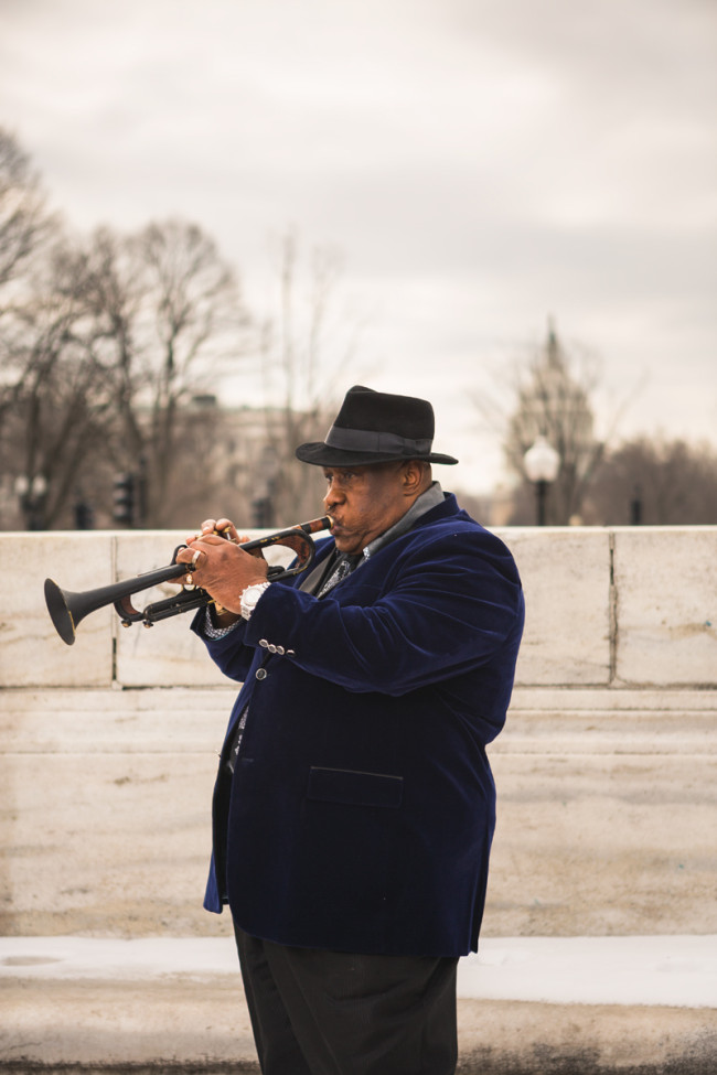 Curtis Pope, trumpeter for The Midnight Movers, photographed for my portrait series of DC soul musicians Soul51.