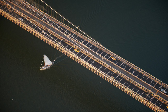 Aerial of the Williamsburg Bridge in the early morning, New York City, New York, USA