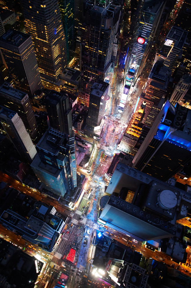 Early evening aerial view of Times Square in the Manhattan, New York City.