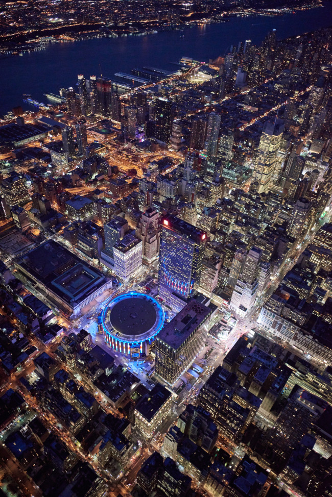 Aerial of Manhattan, New York City GPS DATA of shot location. LAT: LONG: