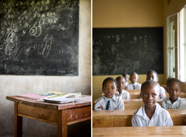 Simple wooden desks and well used chalkboards are the standard classroom features in Uganda.