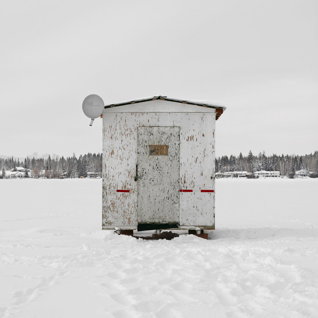 "Ice Hut # 722, Dragon Lake, Quesnel, British Columbia, 2015 - From the Series ""Ice Huts"" by Richard Johnson © 2007-2016 Richard Johnson Photography Inc, www.icehuts.ca, 416-755-7742"