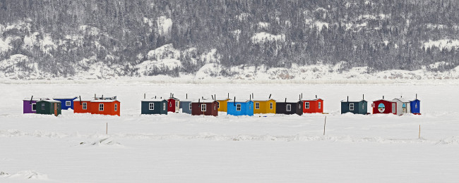 "Ice Village # 60, L'Anse Saint-Jean, Saguenay River, Quebec, 2014 - From the Series ""Ice Huts"" by Richard Johnson © 2007-2016 Richard Johnson Photography Inc, www.icehuts.ca, 416-755-7742"