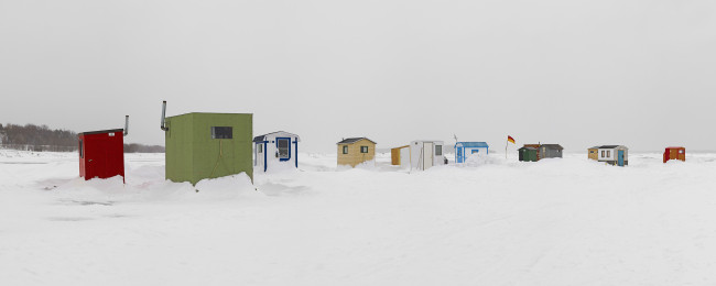 "Ice Village # 68, Rimouski, Fleuve Saint-Laurent, Quebec, 2015 - From the Series ""Ice Huts"" by Richard Johnson © 2007-2016 Richard Johnson Photography Inc, www.icehuts.ca, 416-755-7742"