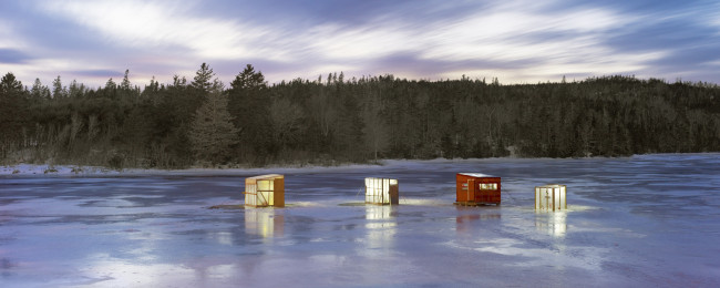 "Ice Village # 96, Oyster Pond, Atlantic Ocean, Nova Scotia, 2015 - From the Series ""Ice Huts"" by Richard Johnson © 2007-2016 Richard Johnson Photography Inc, www.icehuts.ca, 416-755-7742"