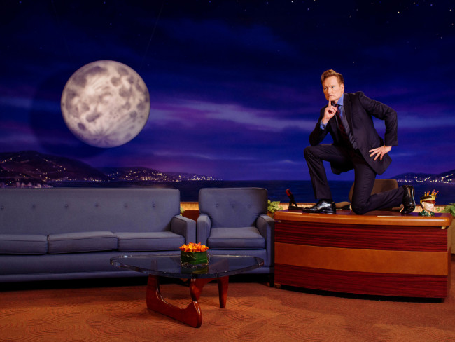 Conan O'Brien poses for a portrait on the set of his television show Conan in Burbank, California February 9, 2016. Photo Credit: Brinson+Banks