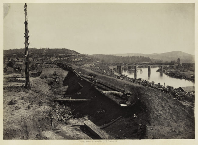 George N. Barnard, Defenses of the Etawah Bridge, from Photographic Views of Sherman's Campaign, 1866; albumen print; 10 1/16 x 14 1/16 in. (25.56 x 35.72 cm); Collection of the Sack Photographic Trust